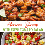 Long collage image of Mexican Shrimp with Fresh Tomato Salad