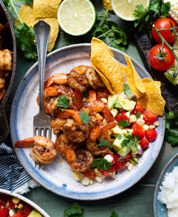 Overhead shot of a plate of Mexican shrimp