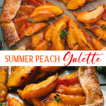 Long collage image of peach galette