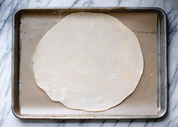 Pie crust on a baking sheet