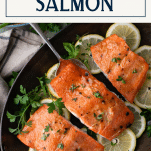 Overhead shot of roasted salmon in a pan with text title box at top