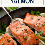 Glazed roasted salmon in a pan with text title box at top