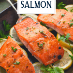 Close up side shot of roasted salmon fillets with text title overlay