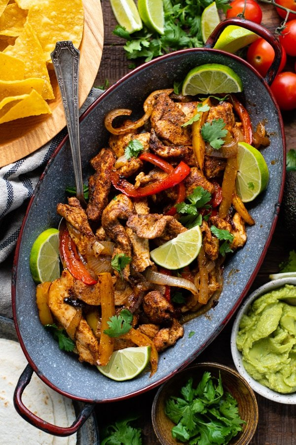 Overhead image of a pan of easy chicken fajitas