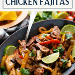 Close up side shot of sheet pan chicken fajitas with text title box at top