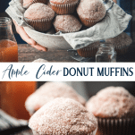 Long collage image of Apple Cider Donut Muffins