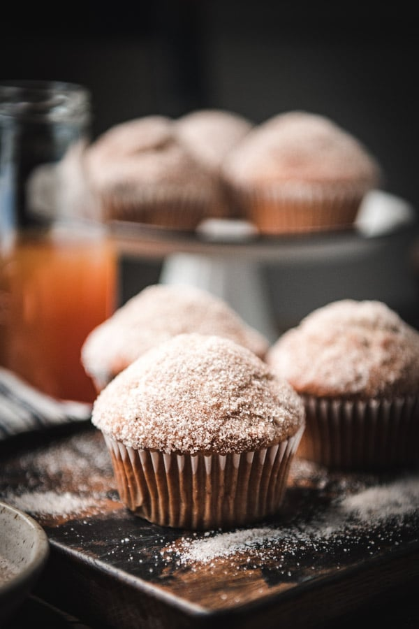 Close up side shot of the best apple cider donut muffin recipe
