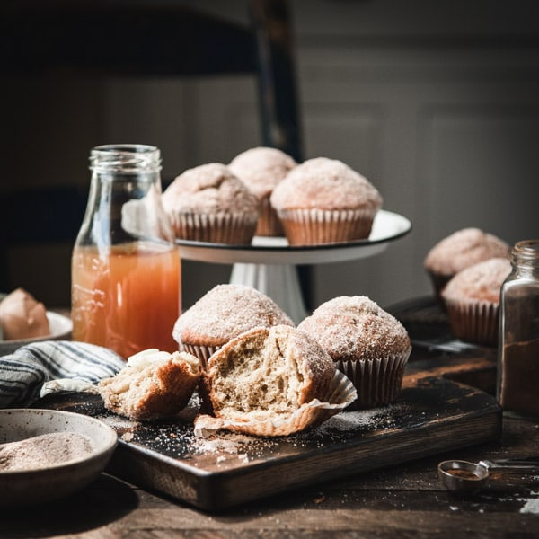 Muffins that taste like donuts on a farmhouse table