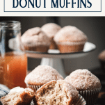 Bite taken out of donut muffins with text title box at top