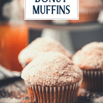 Close up shot of donut muffins with text title overlay