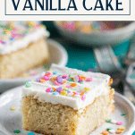 Easy vanilla cake recipe on a white plate with sprinkles and a text title box at top