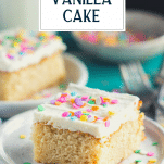 Close up side shot of a piece of moist vanilla cake with text title overlay