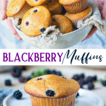 Long collage image of blackberry muffins