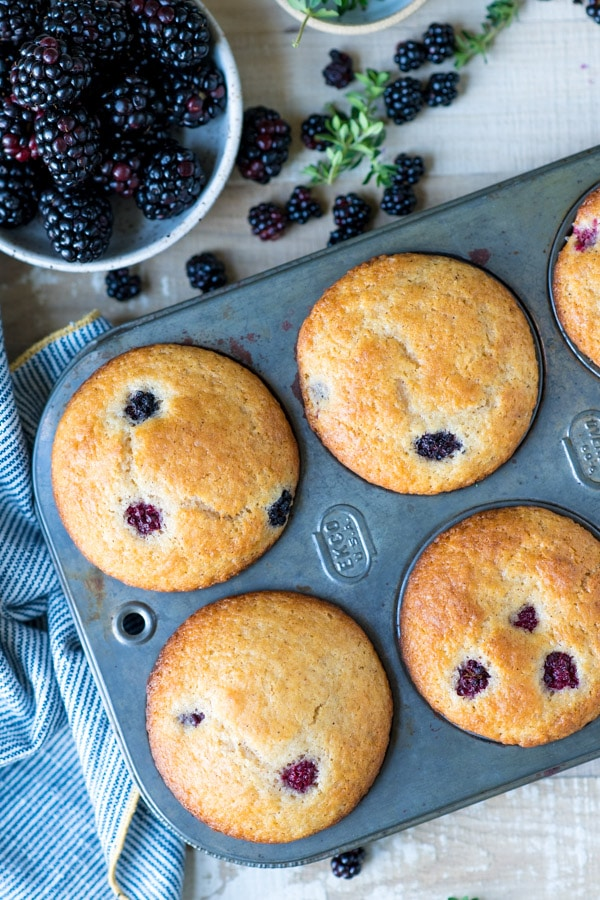 Overhead shot of a pan of blackberry muffins