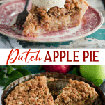 Long collage image of Dutch apple pie
