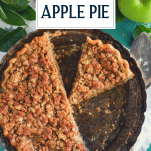 Overhead shot of sliced Dutch apple pie with text title overlay