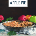 Apple crumbled pie with text title overlay