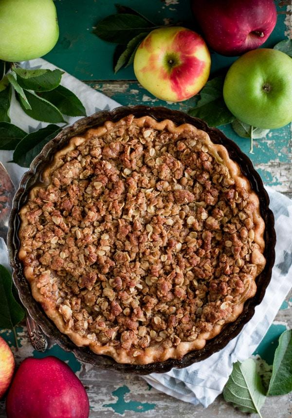 Overhead shot of grandma's Dutch apple pie before slicing