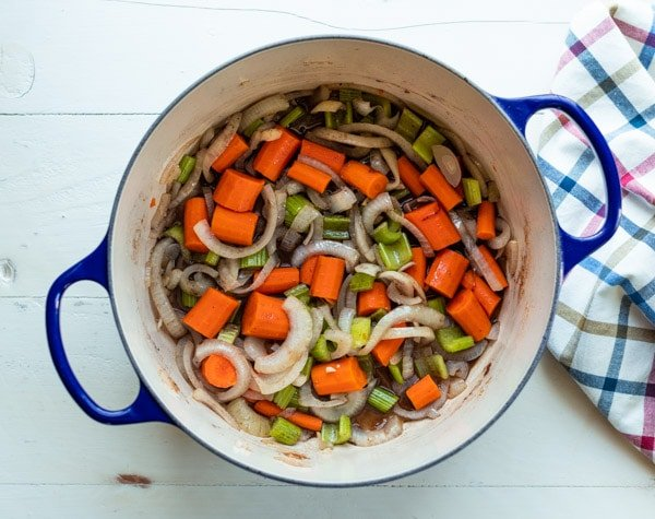 Vegetables simmering in a Dutch oven