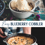 Long collage image of easy blueberry cobbler