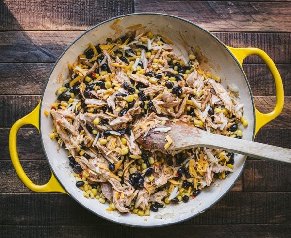 Chicken corn and black beans in a skillet