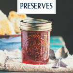 Jar of easy fig preserves with text title overlay