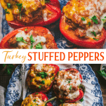Long collage image of ground turkey stuffed peppers.