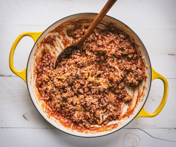 Ground turkey and rice in a cheesy tomato sauce.