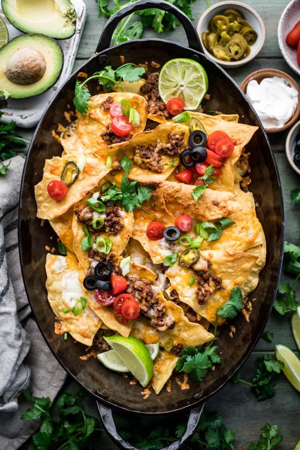 Baking sheet full of the best beef nachos recipe
