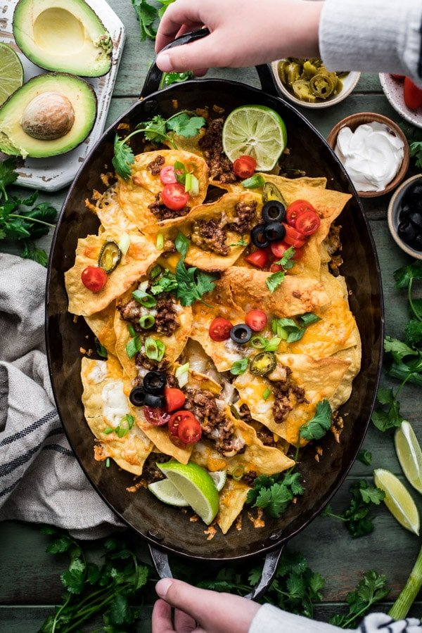 Overhead shot of a tray of homemade nachos