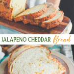 Long collage image of jalapeno cheddar bread