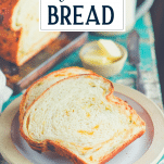 Close up shot of slices of jalapeno cheese bread with text title overlay