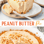 Long collage image of peanut butter pie