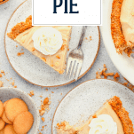Overhead shot of two plates of old fashioned peanut butter pie with text title overlay