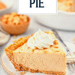 Close up slice of old fashioned peanut butter pie with text title overlay