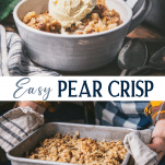 Long collage image of pear crisp
