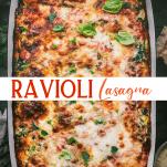 Long collage image of Ravioli Lasagna