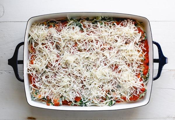 Process shot showing how to bake frozen ravioli