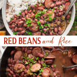 Long collage image of Red Beans and Rice