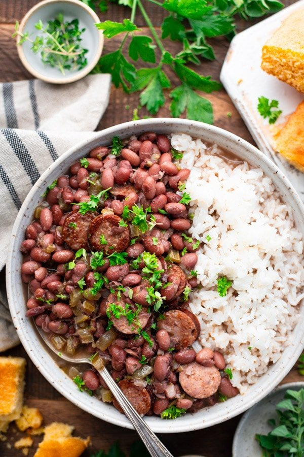 Overhead shot of a bowl of Cajun red beans and rice
