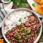 Overhead shot of a bowl of New Orleans Red Beans and Rice recipe