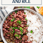 Bowl of easy red beans and rice with text title box at top