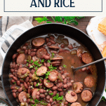 Dutch oven full of New Orleans Red Beans and Rice recipe with text title box at top