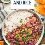 Bowl of Cajun red beans and rice with text title overlay