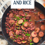Pot of New Orleans Red Beans and Rice recipe with text title overlay