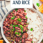 Bowl of red beans and rice with text title overlay