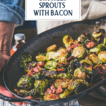 Roasting pan full of balsamic and maple brussels sprouts with text title overlay