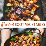 Long collage image of oven roasted root vegetables