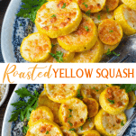 Long collage image of roasted yellow squash