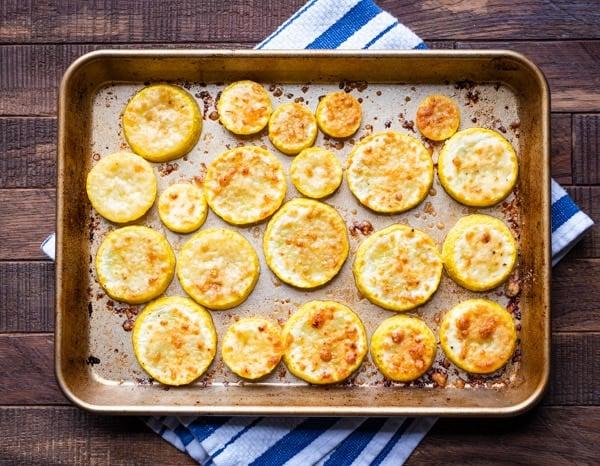 Pan of roasted yellow squash